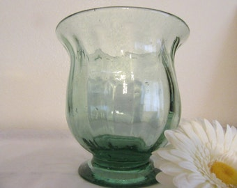 Vase Green Glass Short Flower Vintage Handblown  Catch All for All Things Small  Collectible  Collector  Awesome Gift Idea Centerpiece