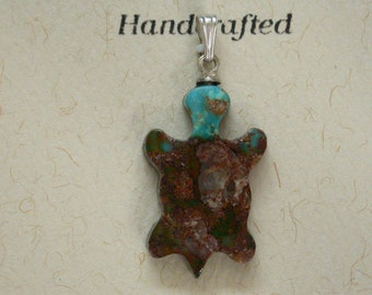 Brown Turquoise Turtle Pendant/Charm