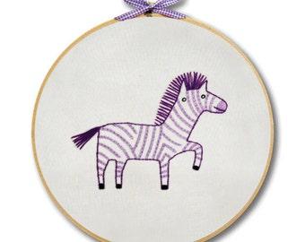 KIT embroidery zebra wall art