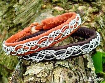 Custom Handmade Sami Viking Bracelet for Men and Women HUGINN Cuff in Bark tanned silksoft Leather with Pewter Braid