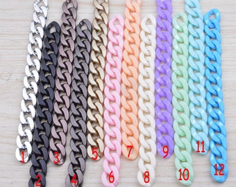 50 plastic chain links, Assorted color small chain links, Jewelry open chain link, Twist links, plastic curb chain, flat oval links 13x18mm