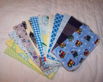 Cloth Wipes - Set of 12 - 2 ply cloths - baby wipes - diaper wipes - boy cloth wipes - diaper washcloths - cloth baby wipes - cloth napkins