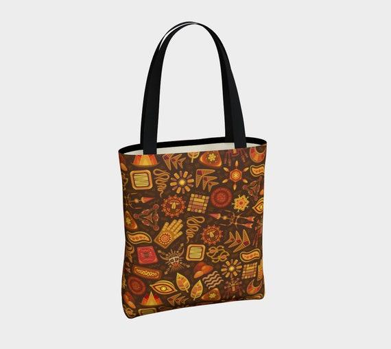 unique Aztec tribal print tote bag in brown and orange