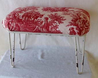 Vintage Footstool, Cottage Shabby Chic, New Upholstery