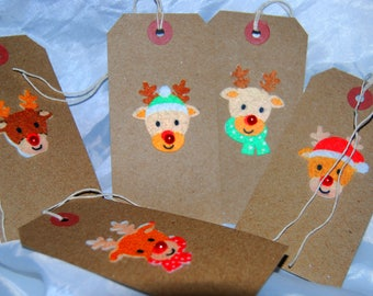 felt rudolf Natural christmas gift tag  x 5  with red bead nose
