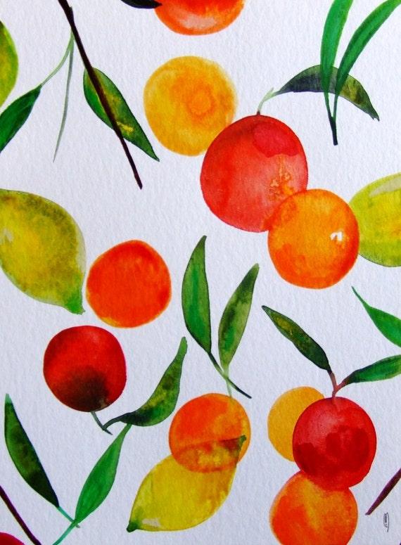 Aquarelle originale agrumes nature morte fruits d cor cuisine - Cuisine provena ale jaune et verte ...