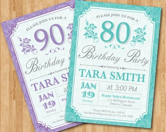 90th birthday invitation western theme birthday for men 80th birthday invitation for women purple blue any color adult birthday party filmwisefo Image collections
