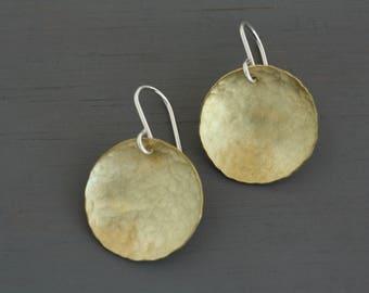 Minimalist Earrings Gold. Circular brass drop earrings handmade in Sydney Australia. Statement Jewelry for Wife. Golden Jewelry : BciDlHDcv