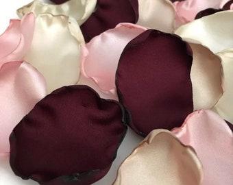Burgundy, blush pink, ivory, champagne mix of flower petals, Wine rose petals, Burgundy table decor, flower girl petals, wedding decor