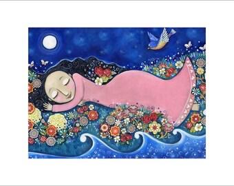 """Large A3 Art print girls room peaceful art print bluebird garden flowers sweet baby nursery wall decor whimsical folk art - """"Flower Child"""""""