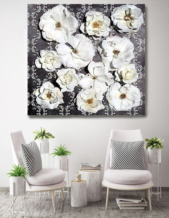 "Shabby Chic Flowers 67. Rustic Floral Painting, Black White Black Rustic Large Floral Canvas Art Print up to 48"" by Irena Orlov"
