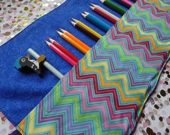 Fabric Pencil Roll. Colouring pencil roll, travel pencil holder, cotton pencil roll, roll up pencil holder, pencil case.