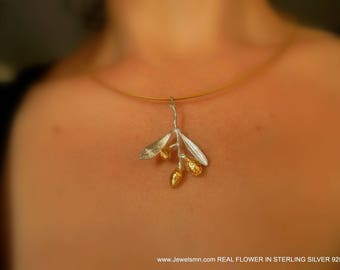 MNJ, Neclace by Real Olive, Olive Leaf Pendant, Sterling Silver 925, Goldplated silver, Eco Friendly, Organic Jewelry, Silver Pendant, Fruit