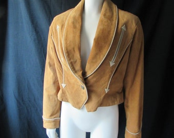 Jacket Leather shortwaisted suede western one button long sleeves camel brown