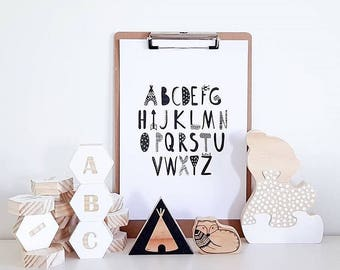 Printable wall print - Adventure Alphabet - A-Z - Instant digital download kids rooms - Baby nursery poster - Monochrome - Nursery