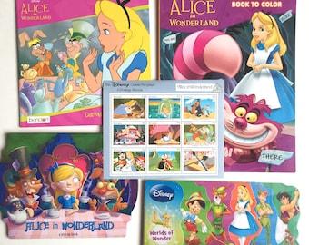 Alice in Wonderland set 4 Books + 1 Sheet of Stamps Grenada