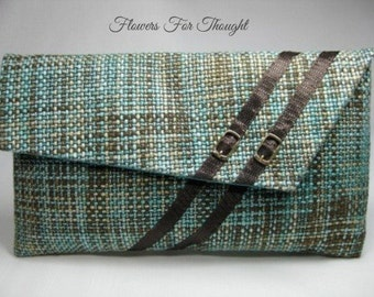 Envelope Clutch, Fashionable Wristlet, Buckle Accent, Teal and Brown
