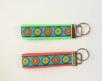 Key fob wristlets in cute flower pattern
