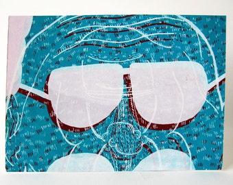 Weird Screenprint Silkscreen hand-pulled print 5x7 Weird Blue Face Man Sunglasses Red Gift idea for men home decor
