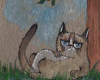 little grumpy cat original watercolor painting