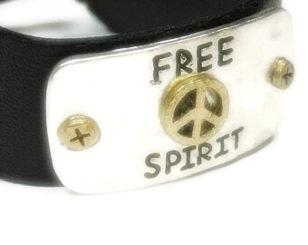 Sale  Free Spirit Peace Bracelet - Brown Leather Bracelet with Message - Adjustable Leather Quote Bracelet - Boho - Southwest - Hippie