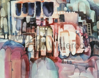 """Abstract Cliff Dwelling, Caverns, Art Print, Southwest, Pink, Mauve, Indigo Blue, Watercolor Painting Wall and Home Decor, """"Pink Pueblos"""""""