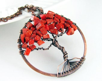 Wire Wrapped Pendant Tree Of Life Necklace Red Jasper Necklace Copper Jewelry Tree Necklace Wire Wrapped Jewelry