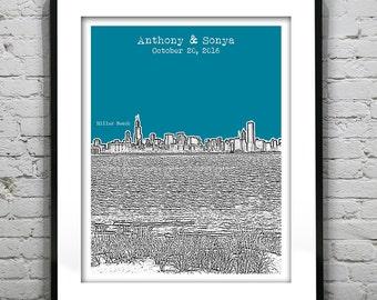 Miller Beach Gary Indiana Wedding Guest Book Guestbook Poster Print -City Skyline IN
