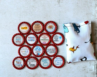 Dr Seuss Bottlecap Magnets- Inspiration, Be You Gift- Motivational Quotes- Graduation Gift- Teacher Gift- Dr Seuss Birthday- Positive Decor