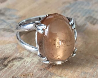 Simple sterling silver ring with claw set natural large golden topaz cabochon size 7.5 ready to ship
