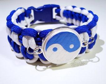 MADE TO ORDER Custom Drift0r Blue and White Yin-Yang Paracord Bracelet