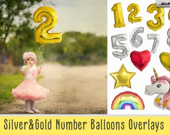 Number Balloons, Overlays, Gold, Silver, Foil, Heart, Star, Unicorn, Rainbow, Png, Clip art, Clipart, Balloon, Birthday, Shaped, Overlay