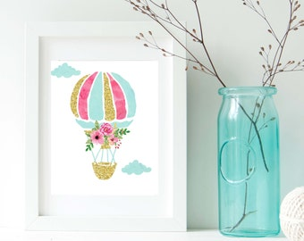 Girl Nursery Wall Art Hot Air Balloon Adventure wall art - Nursery art gold pink mint - Watercolor Hot Air Balloon Instant Download Art