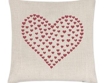 Heart Of Hearts Linen Cushion Cover