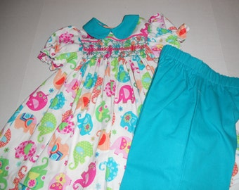 Size 3, Handsmocked Set of Pants with a Lovely Colorful Elephants Print
