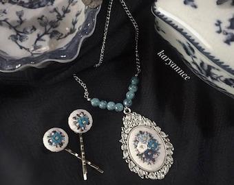 handmade  linen necklace