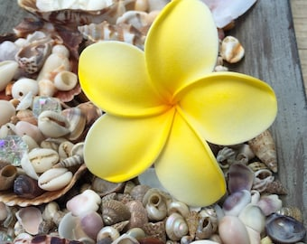 Deep yellow foam plumeria on stem for ear or hair. Measures approx. 3 inches.