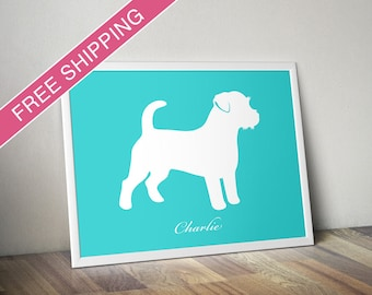 Personalized Russell Terrier Silhouette Print with Custom Name - Russell Terrier dog poster, dog gift, dog home decor