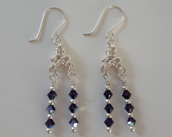 Byzantine Crystal Earrings (Shepherd Hook Style)