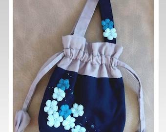Hand-sewn bag-Madam Sarah J - flower bag (Plum blossom)