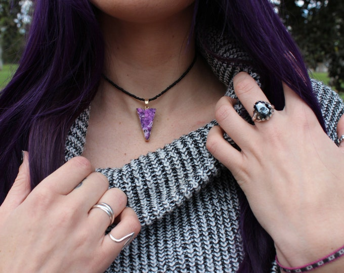 Crystal Druzy Choker Necklace in Galaxy Purple.