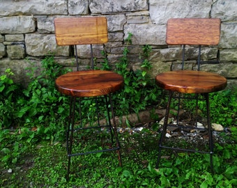 Extra Large Reclaimed Wood Bar Stools with Rebar Legs and Back Rest