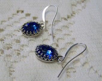 Blue Sapphire Earrings, Swarovski Rhinestone Crystal Earrings, September Birthstone Earrings, Something Blue, Wedding Jewelry, Silver plated