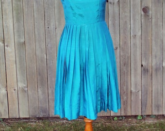 1980s Teal Party Dress -- Clearance