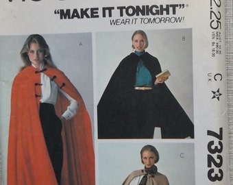 Loose-Fitting Cape with Lined Hood in Size Medium (14-16) CompleteVintage 80s McCall's Sewing Pattern 7323