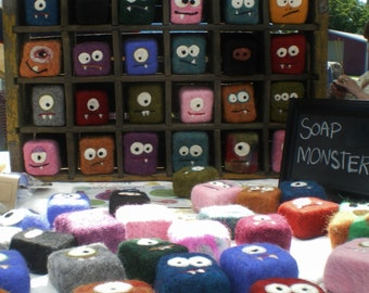 Felted Soap Monsters WHOLESALE - 12 custom monsters