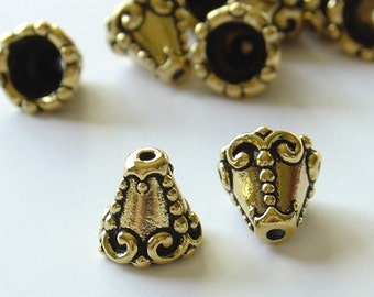Tierra Cast 9mm Pewter Cone Shaped Bead Cap - Antique Gold - 2 Pieces - 1926