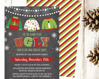 Ugly Sweater Invite Etsy - Ugly sweater christmas party invitations template