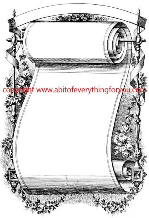 fancy scroll illustration vintage art printable clipart png digital download image graphics black and white certificate