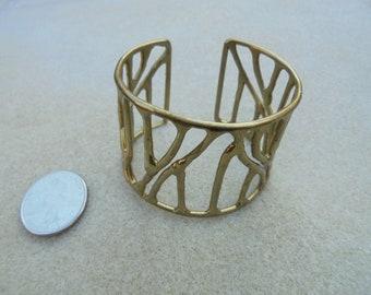 Vintage - Handmade Probably - Brass Probably - Wide Cuff Bracelet - Modernist